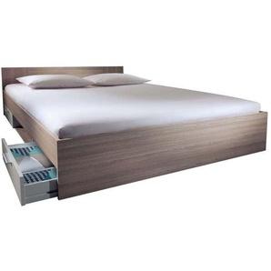 Lit adulte 140x190 cm DETROIT coloris chêne shannon/blanc