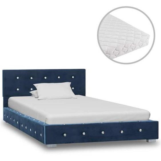 VDYU20802_FR Lit avec matelas Bleu Velours 90 x 200 cm Lit Adulte Sommier à Lattes Chambre à Coucher Maison - Topdeal