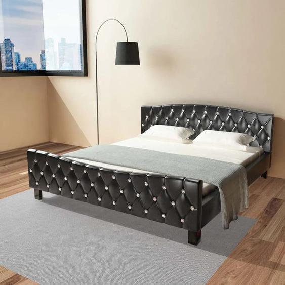 VDLP17671_FR Lit avec matelas Noir Similicuir 180 x 200 cm - Topdeal