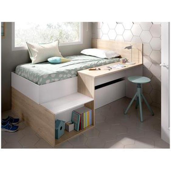 Lit avec rangements et bureau LISON - 90 x 190 cm - Coloris : blanc et chêne