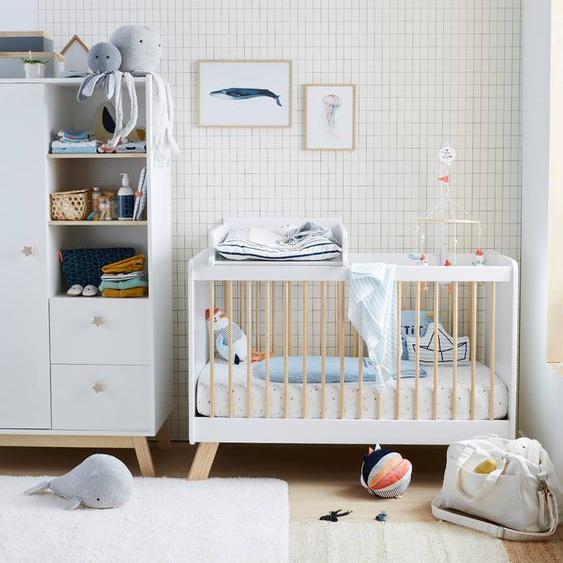 Lit bébé à barreaux LIGNE GRANDE OURSE blanc / bois
