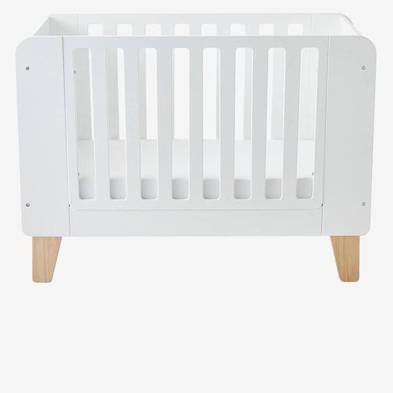 Lit bébé avec barrière amovible LIGNE SEVENTIES blanc / bois