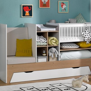 Lit bébé évolutif combiné Blanc/Bois Ecrin + matelas 40x80 & tiroir