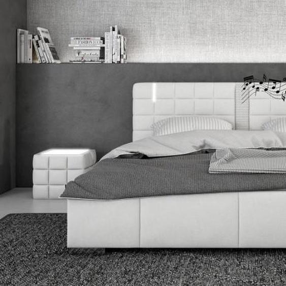 Lit blanc LED et haut-parleurs 180x200 - Wouter - Avec sommier (+