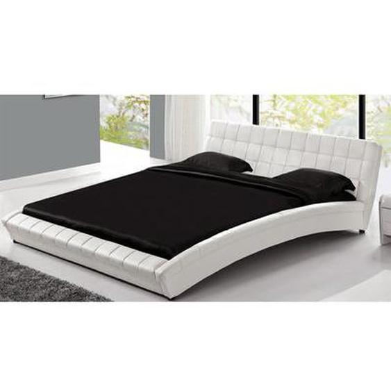 Lit Chelsea - Cadre de lit en PU capitonné Blanc - 140x190cm