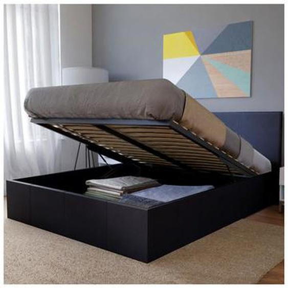 Lit coffre BARCELONA 160x200 + 1 sommier / Noir - LE QUAI DES AFFAIRES