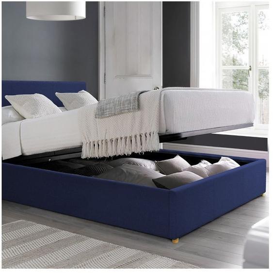 Lit coffre Carlota   en tissu   90x190 cm   Bleu foncé   Sommier inclus - SOFAREVA