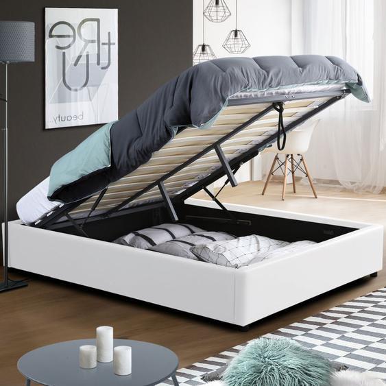 Lit coffre MIAMI PVC blanc avec sommier 160 x 200 cm - IDMARKET