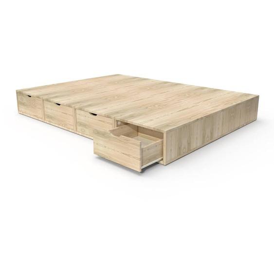 Lit double avec rangement tiroirs Cube 140x200 Brut