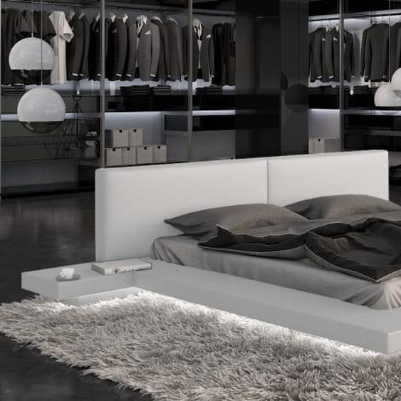 Lit design 160x200 cm blanc avec LED - Kiara - Avec sommier (+ 99