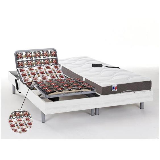 Lit électrique relaxation tout plots matelas 100% latex 5 zones JUPITER de DREAMEA - Blanc - 2 x 80 x 200 cm - moteurs OKIN
