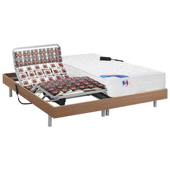Lit électrique relaxation tout plots matelas ressorts ensachés et mémoire forme PHANES de DREAMEA - moteurs OKIN -  Chêne - 2 x 80 x 200 cm