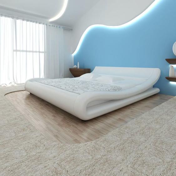 VDLP14995_FR Lit en cuir artificiel Blanc Avec matelas mousse à mémoire 180 x 200cm - Topdeal