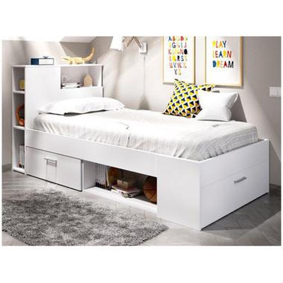 Lit LEANDRE avec tête de lit rangements et tiroir - 90 x 190 cm - Coloris : Blanc