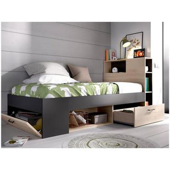 Lit LEANDRE avec tête de lit rangements et tiroir - 90 x 190 cm - Coloris : Chêne et Anthracite