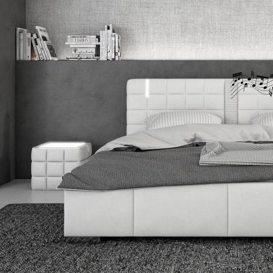 Lit LED blanc 200x200 cm haut-parleurs - Wouter - Avec sommier (+