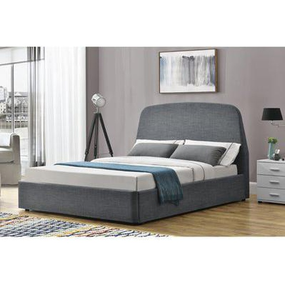 Lit Nacka - Cadre de lit à rangement 2 Places Gris - 160x200