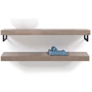 Looox Wooden collection Duo Plan vasque 120x46cm porte-serviette de douche noir mat chêne noir mat wbduo120mz