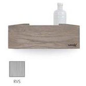 Looox Wooden Collection Rangement Salle de bains 30x10x10cm chêne inox brossé avec fond inox brossé wshbox30rvs