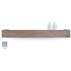 Looox Wooden Collection Rangement Salle de bains 90x10x10cm chêne brossé Inox brossé avec fond Inox brossé wshbox90rvs