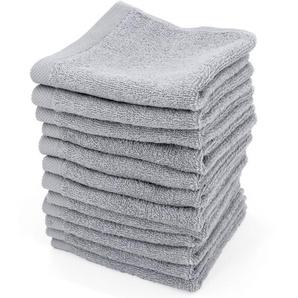 Lot de 12 serviettes invité 30x30 cm ALPHA gris Argent