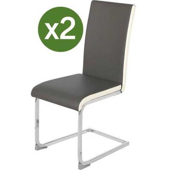 Lot de 2 chaises Lea - Gris/Blanc