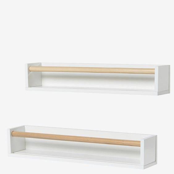 Lot de 2 étagères livres blanc/bois