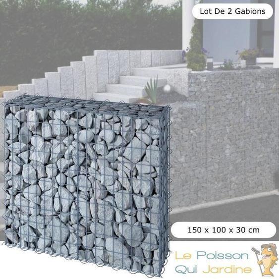 Le Poisson Qui Jardine - Lot de 2 Gabions En Métal Galvanisé, Robuste, Résistant ,150 x 100 x 30 cm - Acier