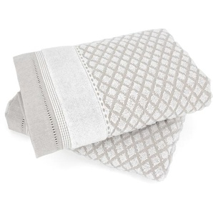 Lot de 2 serviettes de toilette 50x100 cm LINEN blanc