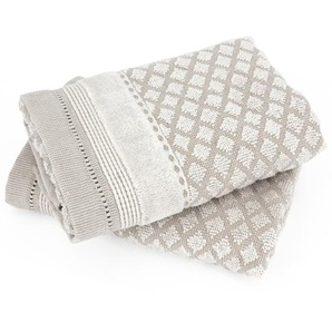 Lot de 2 serviettes invité 33x50 cm LINEN beige