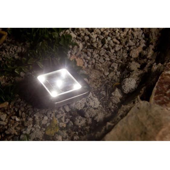Lot de 2 spots solaires carrés inox encastrable ou à piquer LED blanc DECKY SQUARE 10x10cm