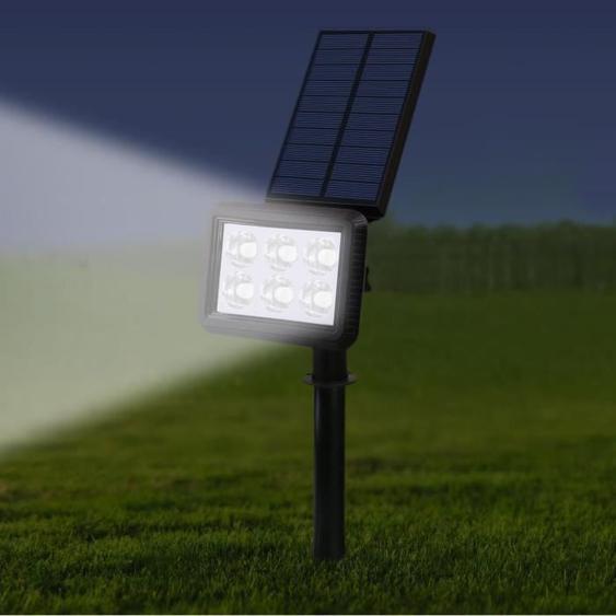 Lot de 2 spots solaires projecteur 2 en 1 à piquer ou à fixer rectangulaires éclairage puissant dimmable LED blanc SQUARY H45cm