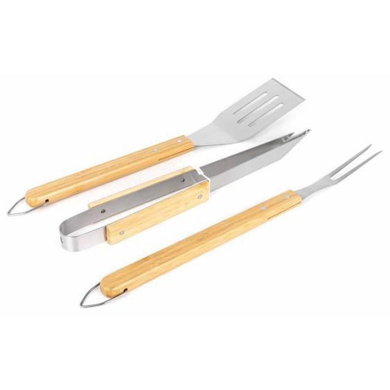 Lot de 3 accessoires pour barbecue 1 pince, 1 spatule, 1 fourchette avec manche en Bambou