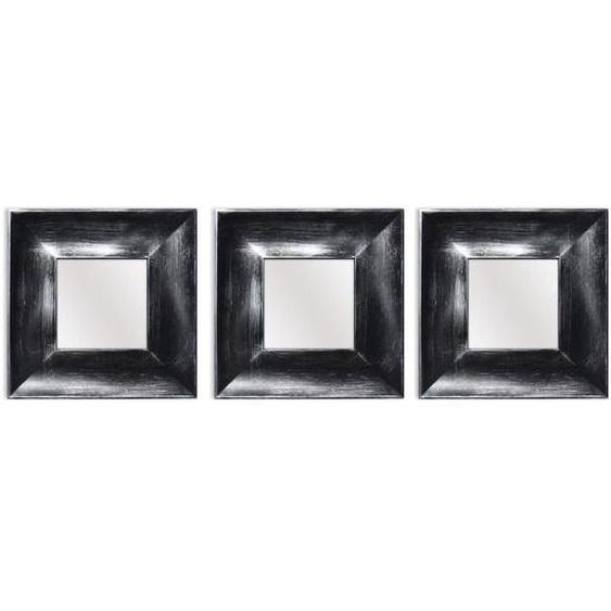 ARTESANIA Lot de 3 miroirs carrés modernes - 25x25 cm - Noir