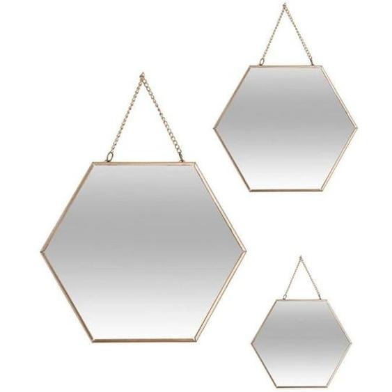 Lot de 3 miroirs hexagonaux en métal - Doré