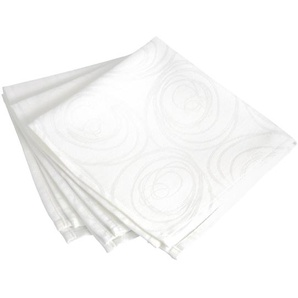 Lot de 3 serviettes de table 43x43 cm Jacquard 100% coton SPIRALE blanc