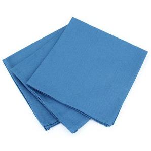 Lot de 3 serviettes de table 45x45 cm Jacquard 100% coton CUBE bleu Cobalt