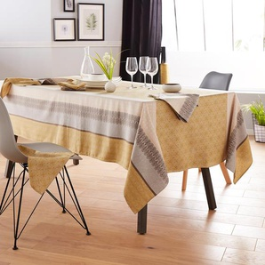 Lot de 3 serviettes de table 45x45 cm Jacquard 100% coton sans enduction CHARLESTON jaune Moutarde