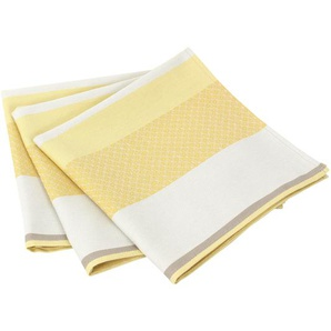 Lot de 3 serviettes de table 45x45 cm Jacquard 100% coton sans enduction EDEN SOLEIL Jaune