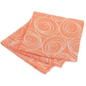 Lot de 3 serviettes de table 45x45 cm Jacquard 100% coton SPIRALE orange papaye