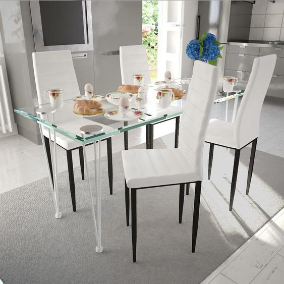 Ensemble de salle à manger 4 chaises Blanc et 1 table en verre