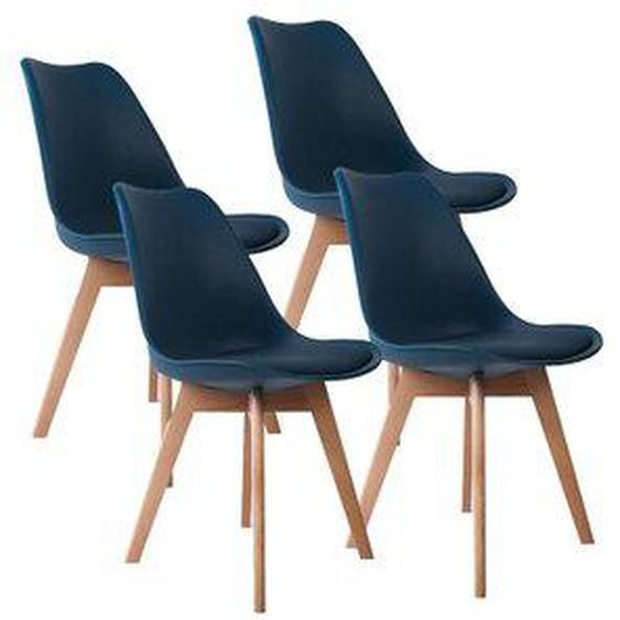 Lot de 4 chaises de salle à manger scandinaves pieds bois hêtre LAGOM assise simili cuir Bleu canard