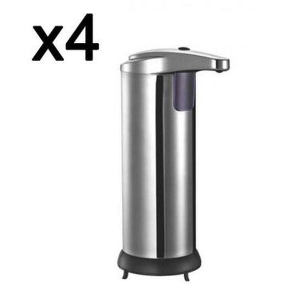 Lot de 4 Distributeurs de savon automatique CLEANY  inox 300mL