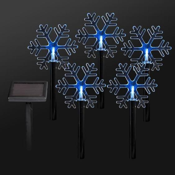Lot de 5 Pics solaires flocons de Noël en PVC LED Blanc 30 cm