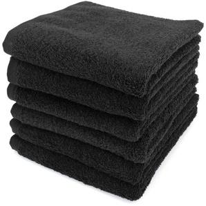 Lot de 6 serviettes de toilette 50x90 cm ALPHA noir