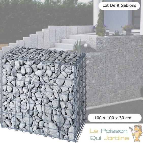 Lot de 9 Gabions En Métal Galvanisé, Robuste, Résistant, 100 x 100 x 30 cm - Acier - WWW.LEPOISSONQUIJARDINE.FR