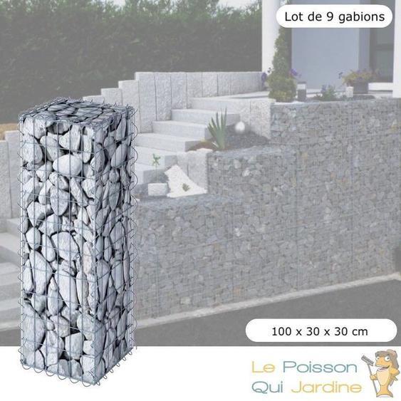 Lot De 9 Gabions En Métal Galvanisé, Robuste, Résistant, 100 x 30 x 30 cm - Acier - WWW.LEPOISSONQUIJARDINE.FR