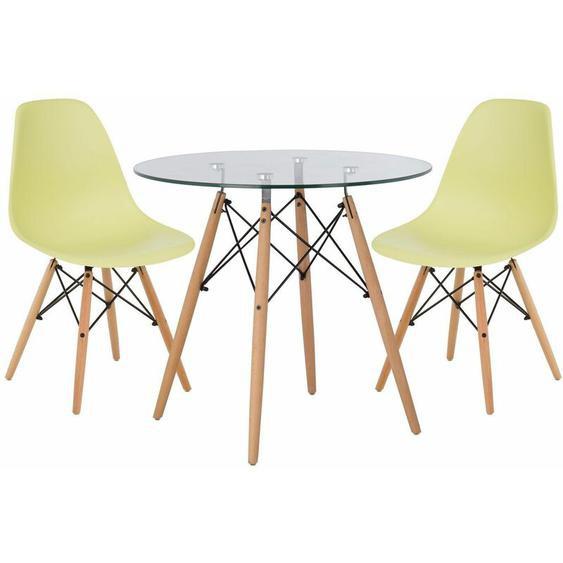 Lot de Table Scand Ø80 & 2 Chaises Scand Vert Lima Noir/Bois Naturel - Vert Lima Noir/Bois Naturel - Sklum
