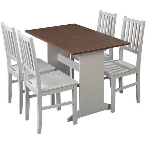 LUCAIN - Ensemble Table Repas + 4 Chaises Bois Massif
