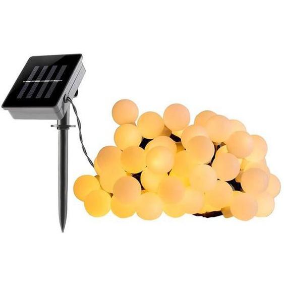 LUMI JARDIN Guirlande boule lumineuse solaire Billy - 60 LED - 6,9 cm - Blanc chaud